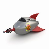 3d модель игрушечной ракеты в ретро стиле