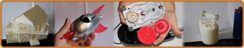 Примеры отпечатанных на 3D принтере моделей.